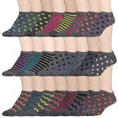 24 Pairs of WSD Womens Ankle Socks, Low Cut Sports Sock - Assorted Styles (Marled, 9-11) - Womens Ankle Sock