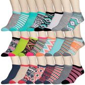 24 Pairs of WSD Womens Ankle Socks, Low Cut Sports Sock - Assorted Styles (Aztec Prints, 9-11) - Womens Ankle Sock
