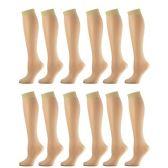 12 Pairs of excell Sheer Trouser Socks for Women, 20 Denier Knee High Dress Socks (Beige) - Womens Trouser Sock