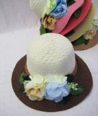 36 Units of Womens Fashion Two Tone Summer Hat With Flowers - Sun Hats
