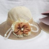 36 Units of Womens Summer Hat With Flower And Pearl - Sun Hats