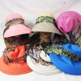 24 Units of Womens Summer Sun Hat With Printed Ribbon - Sun Hats