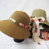 24 Units of Womens Summer Straw Hat With Printed Pulled Through Ribbon - Sun Hats