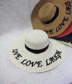 "24 Units of Womens Summer Sun Hat""Live Love Laugh"" - Sun Hats"