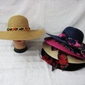 24 Units of Women Summer Sun Hat With Floral Ribbon And Chain - Sun Hats