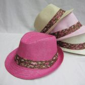 24 Units of Kids Fedora Hat With Printed Ribbon - Fedoras, Driver Caps & Visor