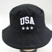 36 Units of Mens Summer Bucket Black USA Cap - Bucket Hats