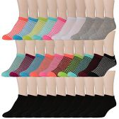 30 Pairs of WSD Womens Ankle Socks, Low Cut Sports Sock - Assorted Styles (Bright Stripes) - Womens Ankle Sock
