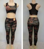 24 Units of Ladies Active Fitness Top/Leggings Set [Camo] - Womens Active Wear