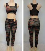24 Units of Ladies Active Fitness Top/Leggings Set [Camo]