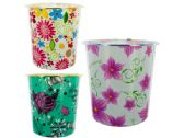 48 Units of Round Floral Design Wastebasket - Waste Basket