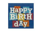 108 Units of Happy Birthday Blocks Beverage Napkins Set - Party Tableware