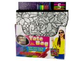 12 Units of Color Your Own Quilted Fashion Tote Bag with Markers - CRAFT KITS