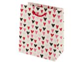 120 Units of Mini White Hearts Print Valentine Gift Bag