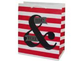 120 Units of Medium Me & You Striped Valentine Gift Bag
