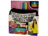 12 Units of Color Your Own Glitter Hipster Fashion Bag with Markers - CRAFT KITS
