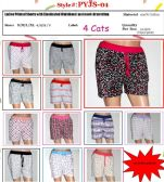 144 Units of Ladies Assorted Print 100% Cotton Lounge Shorts
