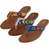 36 Units of Women's Beaded Patterns Flip Flops ( *Asst. Black Coral & denim ) - Women's Flip Flops