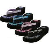 36 Units of Women's Floral Printed Wedge Rhinestone Look Flip Flops ( *Asst. Black Blue Pink And Purple )