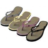 48 Units of Women's Glitter Straw Insole Flip Flops ( *Asst. Gold Silver Black & Rose Gold )