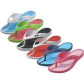 36 Units of Women's Sport 2 Tone Colors Soft Comfort Rubber Thong Sandals ( *Asst. 6 Color )