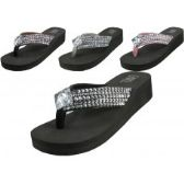 36 Units of Women's Wedge Rhinestone Thong Sandals ( *Asst Black Silver Brown & Pink )
