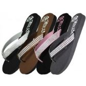 48 Units of Women's Flower Print With Rhinestone Look Flip Flops ( *Asst. Black Silver Pink & Brown )