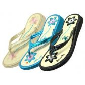 48 Units of Women's Straw Upper with Flower Emboidery Thong Flip Flop