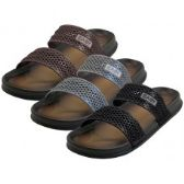 36 Units of Men's 2 Strip Upper All Rubber Soft sandals ( *Asst. Black Brown & Gray ) - Men's Flip Flops & Sandals