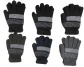 6 Pairs of Excell Solid Striped Wool Gloves, Mens Womens, Stretchy - Knitted Stretch Gloves