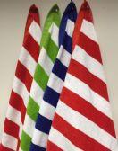 24 Units of Cabana Stripe Beach Towel 100% Cotton - 4 Color Assortment