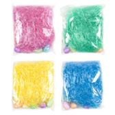 36 Units of Easter Grass 1.75 Oz W/ 6 Mini Glitter Egg Decor 4 Asst Colors 18pc Grn/6p Blue/pink/yellow