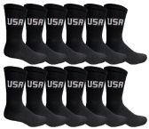 600 Units of Womens Cotton Black USA Crew Socks Size 9-11