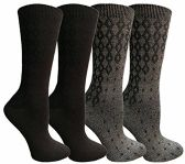 WSD Soft Dress Socks for Women, Silky Smooth Comfort Nylon Blend Crew Sock (4 Pairs Assorted C)
