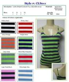 96 Units of Ladies Striped Tank Tops / Camisole with Adjustable Straps - Womens Camisoles / Tank Tops