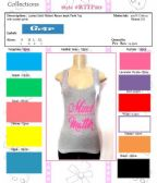 """144 Units of Ladies Solid Ribbed Racer Back Tank Top with Screen Print """"MIND MATTER"""""""