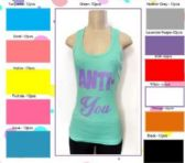 """144 Units of Ladies Solid Ribbed Racer Back Tank Top with Screen Print """"ANTI YOU"""""""