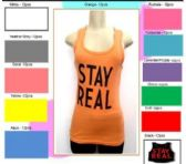 """144 Units of Ladies Solid Ribbed Racer Back Tank Top with Screen Print """"STAY REAL"""""""