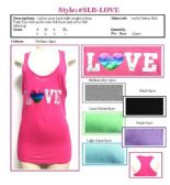 """36 Units of Ladies Solid Racer Back Tank Top with Screen Print """"LOVE"""""""
