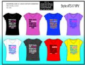 72 Units of Ladies Assorted Color Printed V-Neck Tee Shirts