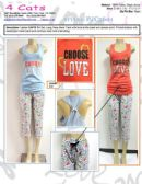 48 Units of Ladies Printed Capri PJ Set Assorted Colors - Women's Pajamas Set