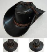 72 Units of Shiny Leather-Like Cowboy Hat - Cowboy & Boonie Hat