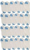 excell Womens 24 Pair Value Pack Cotton No Show Sport Athletic Socks (White / Blue Heel and Toe, 9-11)