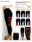 """36 Units of Ladies Active Black Legging with """"XXVII"""" Printed on Side Panel"""