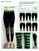 """36 Units of Ladies Active Black Legging with """"Gym, Grind"""" Printed on Waistband and Knee Panels"""