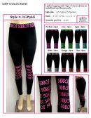 """36 Units of Ladies Active Black Legging with """"Squat"""" Printed on Waistband and Knee Panels"""