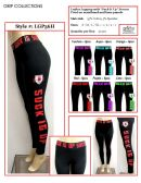 """36 Units of Ladies Active Black Legging with """"Suck it Up"""" Printed on Waistband and Knee Panels"""