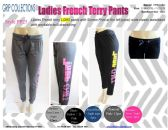 48 Units of Ladies French Terry Pants with Screen Print on Side Panel