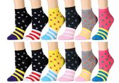 12 Pairs of WSD Womens Ankle Socks, Cotton No Show, Many Colorful Patterns (Pack M)