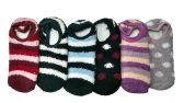 6 Pairs Of excell Woman's Fuzzy Sliper Socks With Gripper Bottom, Sock Size 9-11 - Womens Fuzzy Socks